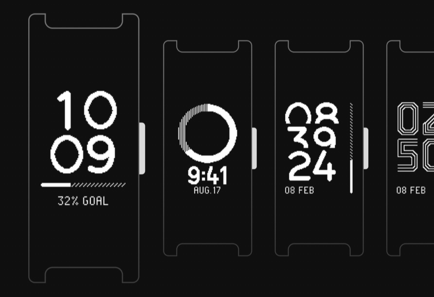 Unclickable picture of early concepts for Pulse HR's watchface