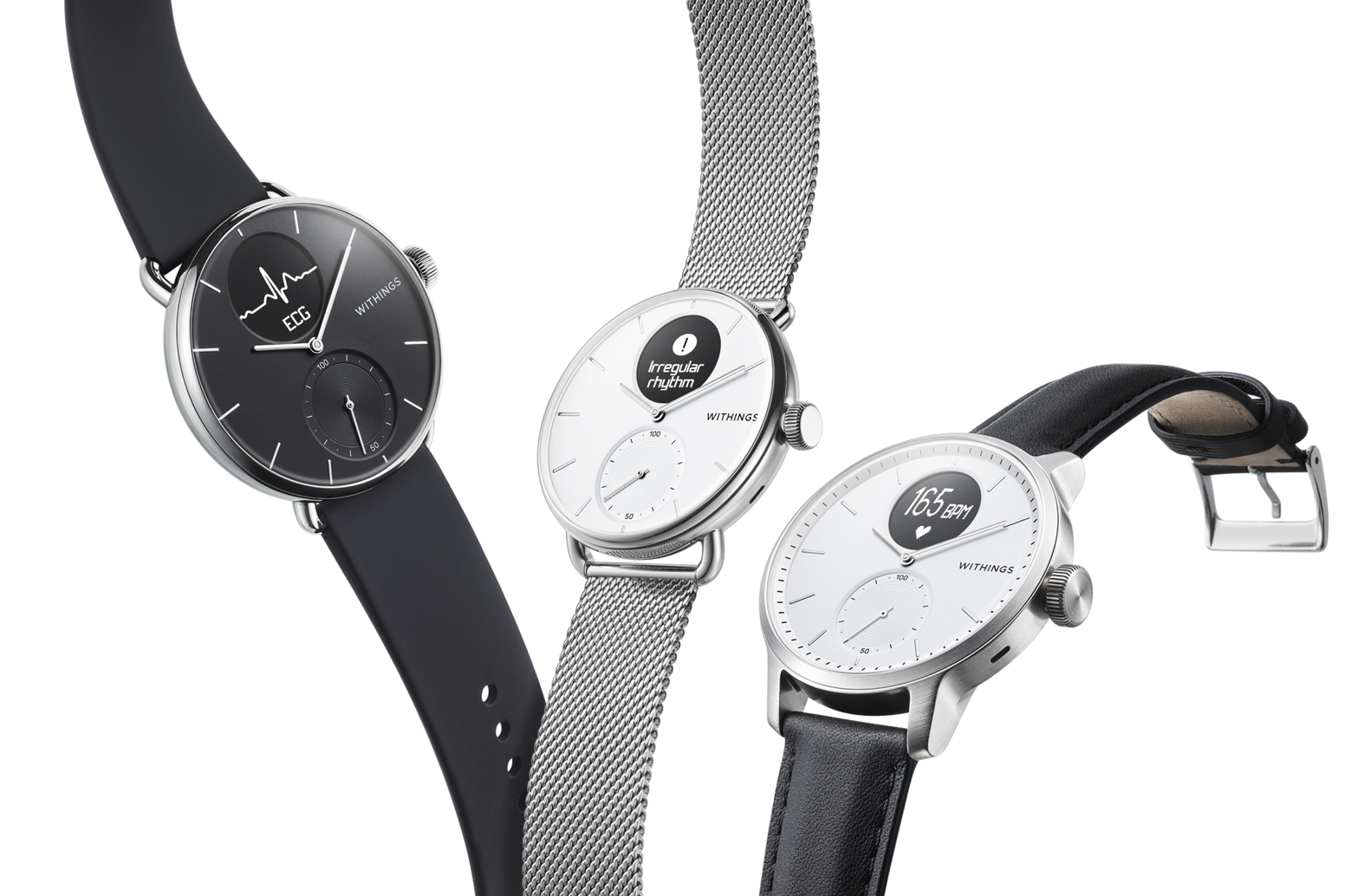Unclickable 3D of three Withings Scanwatches floating in the air